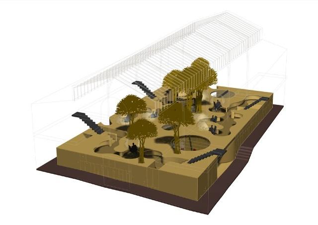 Пример аксонометрии дизайна двухуровневого офиса