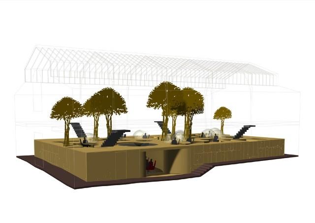 Пример 3д аксонометрии дизайна двухуровневого офиса