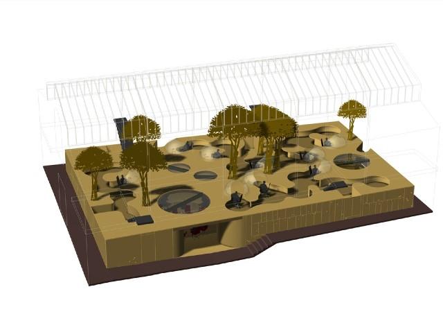 Пример 3д аксонометрии дизайна офиса