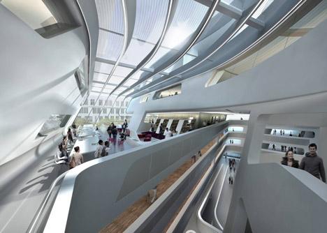 Внутреннее пространство библиотеки от Захи Хадид в Вене