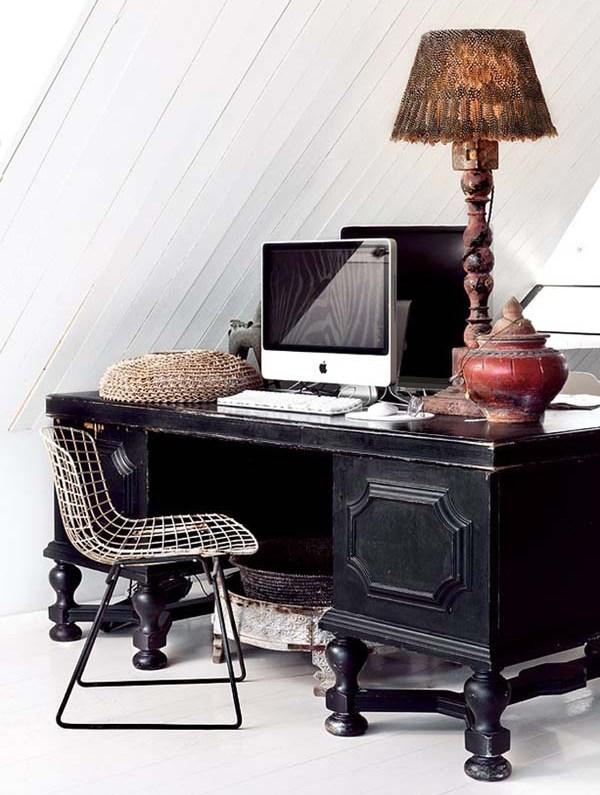 Рабочий стол и кресло в ретро-винтажном стиле для интерьера кабинета