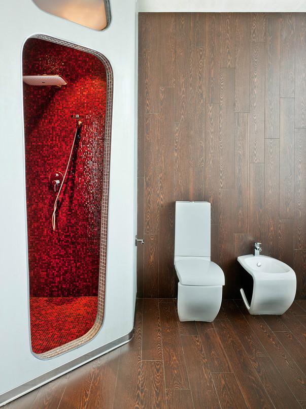 Ретрофутуризм в интерьере ванной комнаты