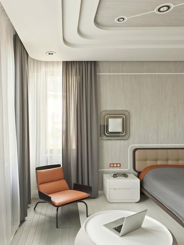 Ретрофутуризм в интерьере спальни