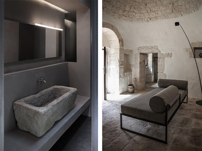 Интерьеры гостиной и ванной в дизайне старинного каменного дома в Италии