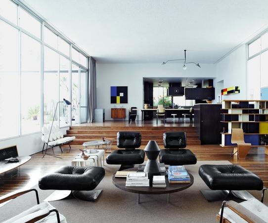Кухня-гостиная в стиле модернизм - интерьер по проекту Оскара Нимейера