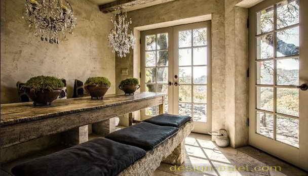 Обеденная зона в стиле рустик в интерьере дома