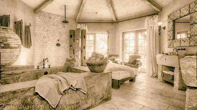 Отделка спальни в стиле рустик в интерьере дома