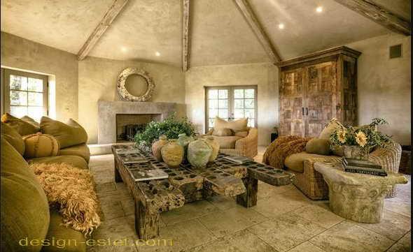 Гостиная в стиле рустик в интерьере дома