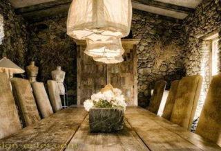 Светильники для кухни-столовой в стиле рустик в интерьере дома