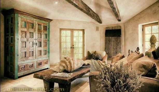 Шкаф в стиле рустик в интерьере дома