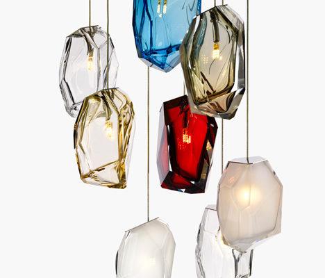 Чешские подвесные люстры из цветного хрусталя
