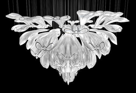 Потолочная чешская люстра с плафоном в форме цветка из хрусталя