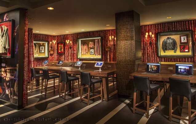 Дизайн ресторана в интерьере отеля в стиле американского ретро