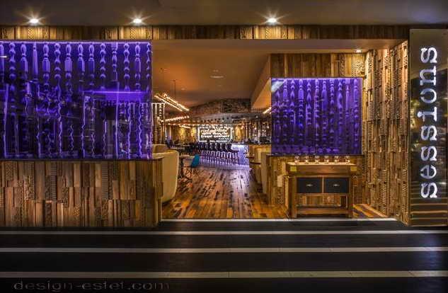 Дизайн подсветки в интерьере отеля в стиле американского ретро