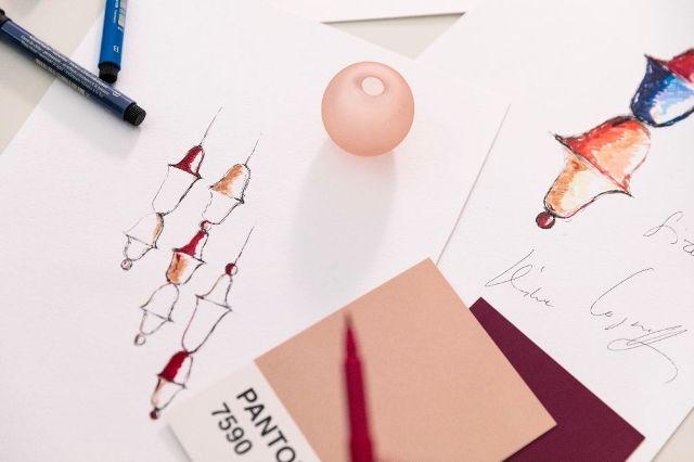 Эскизы дизайна люстр из чешского цветного стекла