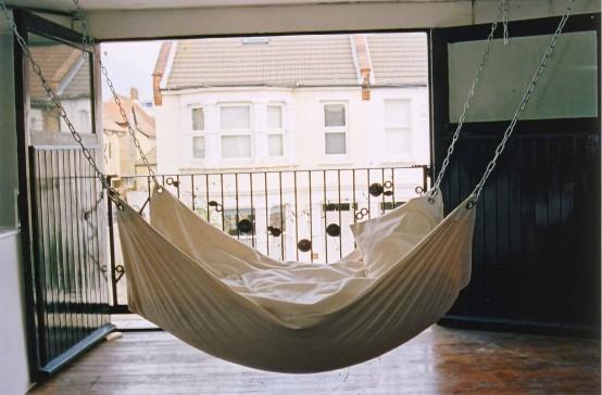 Подвесной брезентовый гамак-кровать для спальни в доме