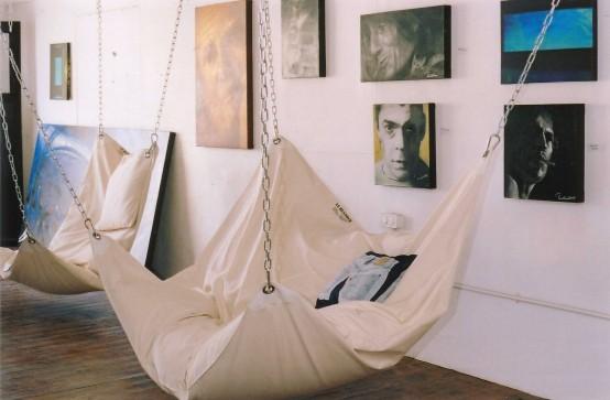 Подвесной гамак-кровать для интерьера спальни в доме