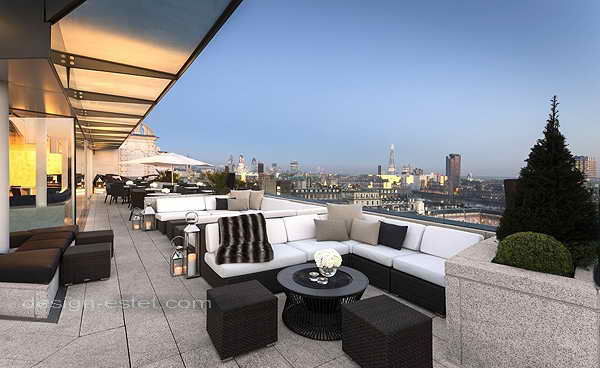 Дизайн интерьеров и террасы роскошного отеля ME London