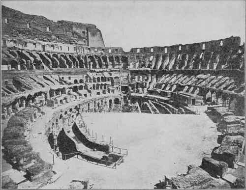 Старинное изображение Колизея в Древнем Риме