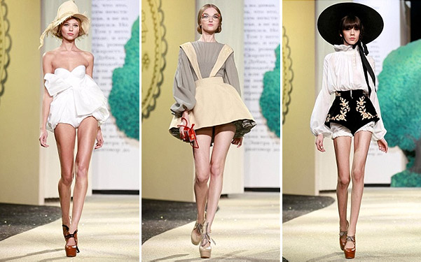 Коллекция платьев от Ульяны Сергеенко - модели в бело-сером цвете