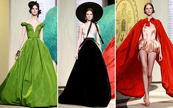Коллекция платьев от Ульяны Сергеенко - модели в черно-белом, зеленом и красном цвете