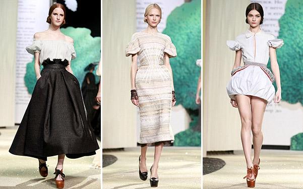 Коллекция платьев от Ульяны Сергеенко - бело-черно-бирюзовой гамме 2013 года
