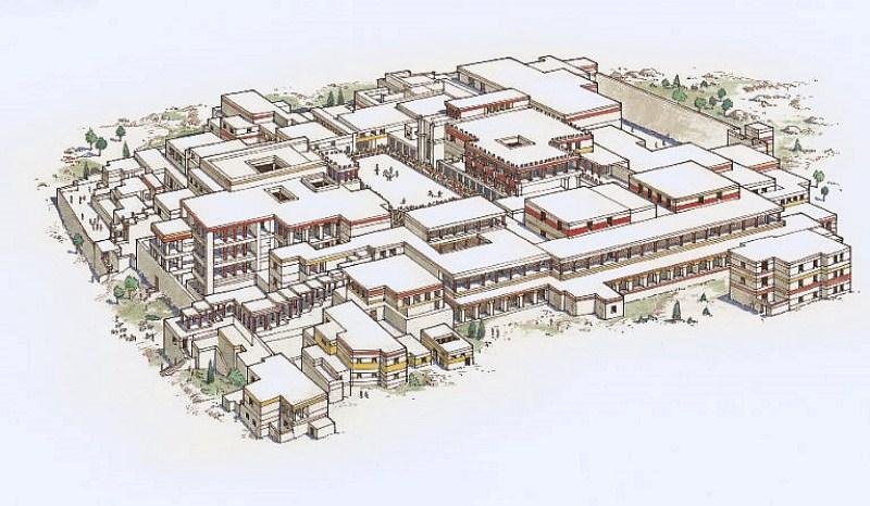 Аксонометрический план Кносского дворца на Крите