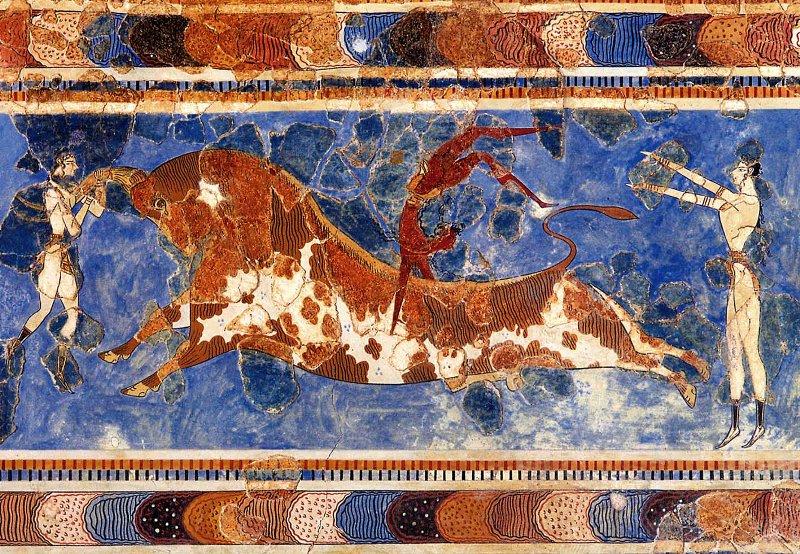 Фреска Игры с быком Кносского дворца на Крите