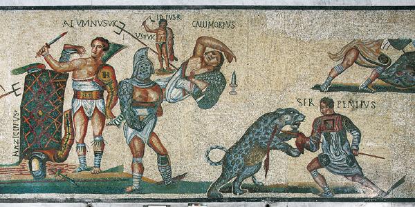 Бои гладиаторов - фрески в Колизее Древнего Рима