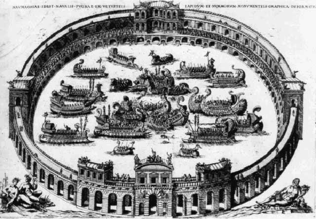 Морской бой наумахия на арене Колизея в Древнем Риме