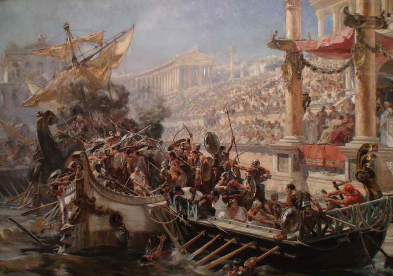 Сцена наумахии в Колизее в Древнем Риме