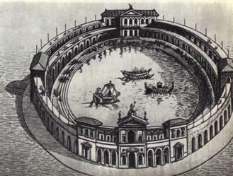 Наумахии в Колизее в Древнем Риме