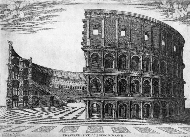 Аксонометрическая схема конструкций Древнего Колизея в Риме
