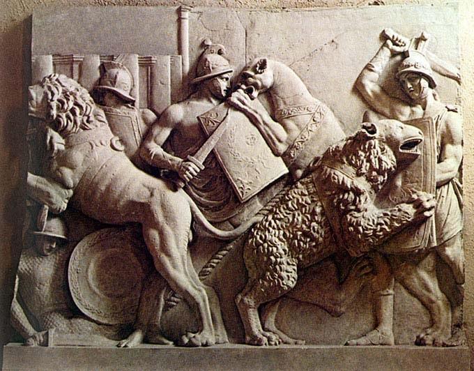 Барельеф в Колизее в Древнем Риме - бой гладиаторов